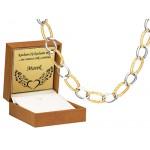 Elegancki złoty naszyjnik z ozdobnym diamentowaniem