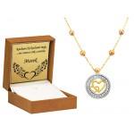 Uroczy złoty naszyjnik z kółeczkiem i dwoma serduszkami