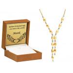 Naszyjnik z biało-żółtego złota z diamentowanymi kulkami