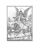 Srebrny obrazek Anioł Stróż na Chrzest z grawerem GRATIS