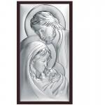 Szykowny obraz srebrny z wizerunkiem Świętej Rodziny w eleganckiej oprawie z najwyższej jakości drewna