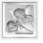 Czarujący obrazek srebrny Anioł Stróż Pamiątka Chrztu Świętego w ekskluzywnej białej ramie z najwyższej jakości drewna