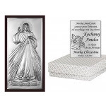 Srebrny obrazek  z napisem Jezu ufam Tobie w eleganckiej brązowej ramie