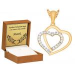 Złoty łańcuszek oryginalne serce z cyrkoniami prezent