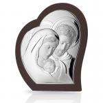 Srebrny obraz sakralny Święta Rodzina w sercu