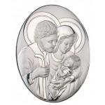 Okazały srebrny obraz sakralny Święta Rodzina w owalu Prezent Grawer GRATIS