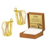 Złote kolczyki z lśniącymi cyrkoniami Prezent Grawer GRATIS
