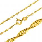 Złoty komplet lsniące serce z łańcuszkiem