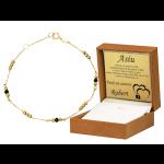 Złota bransoletka z diamentowanymi kulkami i czarnymi kryształkami