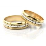 Złote obrączki ślubne z szykownym wykończeniem