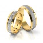 Dwukolorowe obrączki ślubne z  cyrkoniami