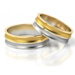 Eleganckie symetryczne dwukolorowe obrączki ślubne