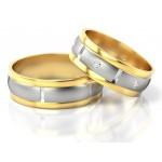 Dwubarwne obrączki ślubne z cyrkoniami