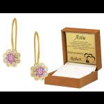 Złote kolczyki dziecięce z fioletową cyrkonią na biglu