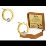 Złote kolczyki klasyczne kółeczka na sztyfcie z cyrkonią