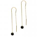 Złote kolczyki przeciągane z czarną cyrkonią