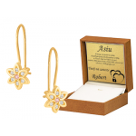 Złote kolczyki dziecięce kwiatuszki z różową cyrkonią na biglu