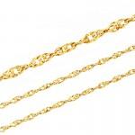 Złoty komplet łańcuszek z serduszkiem ozdobionym cyrkoniami