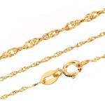 Złota zawieszka w kształcie literki E z łańcuszkiem