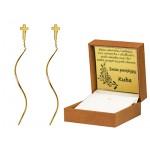 Modne przeciągane złote kolczyki z krzyżykiem Grawer GRATIS