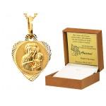 Diamentowany złoty komplet medalik z łańcuszkiem