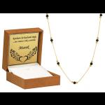 Złoty naszyjnik z czarnymi cyrkoniami i diamentowanymi kulkami