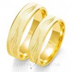 Obrączki ślubne z żółtego złota z fantazyjnym wykończeniem