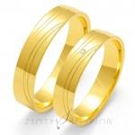 Szykowne złote obrączki ślubne z innowacyjnym nacięciem