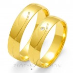 Eleganckie obrączki ślubne z żółtego złota z oryginalnym nacięciem
