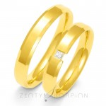 Żółte, złote obrączki ślubne ze ściętymi brzegami