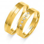 Obrączki ślubne z białego złota z ozdobnym nacięciem