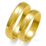 Obrączki ślubne z żółtego złota urokliwie wykończone matem i polerem