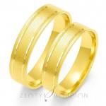 Jednobarwne obrączki ślubne złote z diamentowanym nacięciem