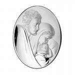 Piękny obrazek srebrny Świętej Rodziny owalny grawer gratis