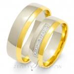 Eleganckie obrączki złote żółto-białe półokrągłe