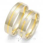 Stylowe obrączki ślubne z białego złota z żółtym nacięciem