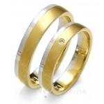 Obrączki ślubne z żółto-białego złota i diamentem