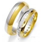 Obrączki ślubne z żółto-białego złota z kamieniami wokół