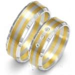 Obrączki złote biało-żółte ze ściętymi brzegami i cyrkoniami