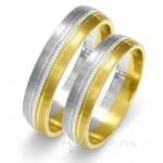 Obrączki ślubne złote dwukolorowe z ozdobnymi nacięciami