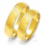 Obrączki ślubne z żółtego złota z delikatnym białym obramowaniem