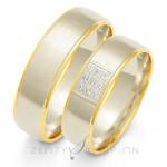 Obrączki ślubne złote z centralnie osadzonymi kamieniami