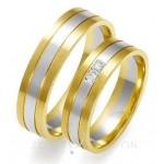 Obrączki ślubne dwukolorowe z ozdobnym nacięciami i dwoma diamentami
