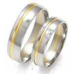 Biało żółte gustowne obrączki ślubne z diamentami