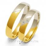 Obrączki ślubne z biało-żółtego złota z cyrkoniami