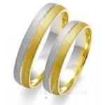 Obrączki ślubne z biało-żółtego złota wykończonego matem