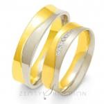 Eleganckie biało-żółte obrączki ślubne z diamentami