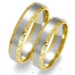 Obrączki ślubne z białego i żółtego złota z ozdobnymi brzegami