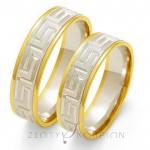 Obrączki ślubne złote dwukolorowe z meandrem