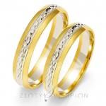 Obrączki ślubne biało-żółte złoto z efektownym błyskiem